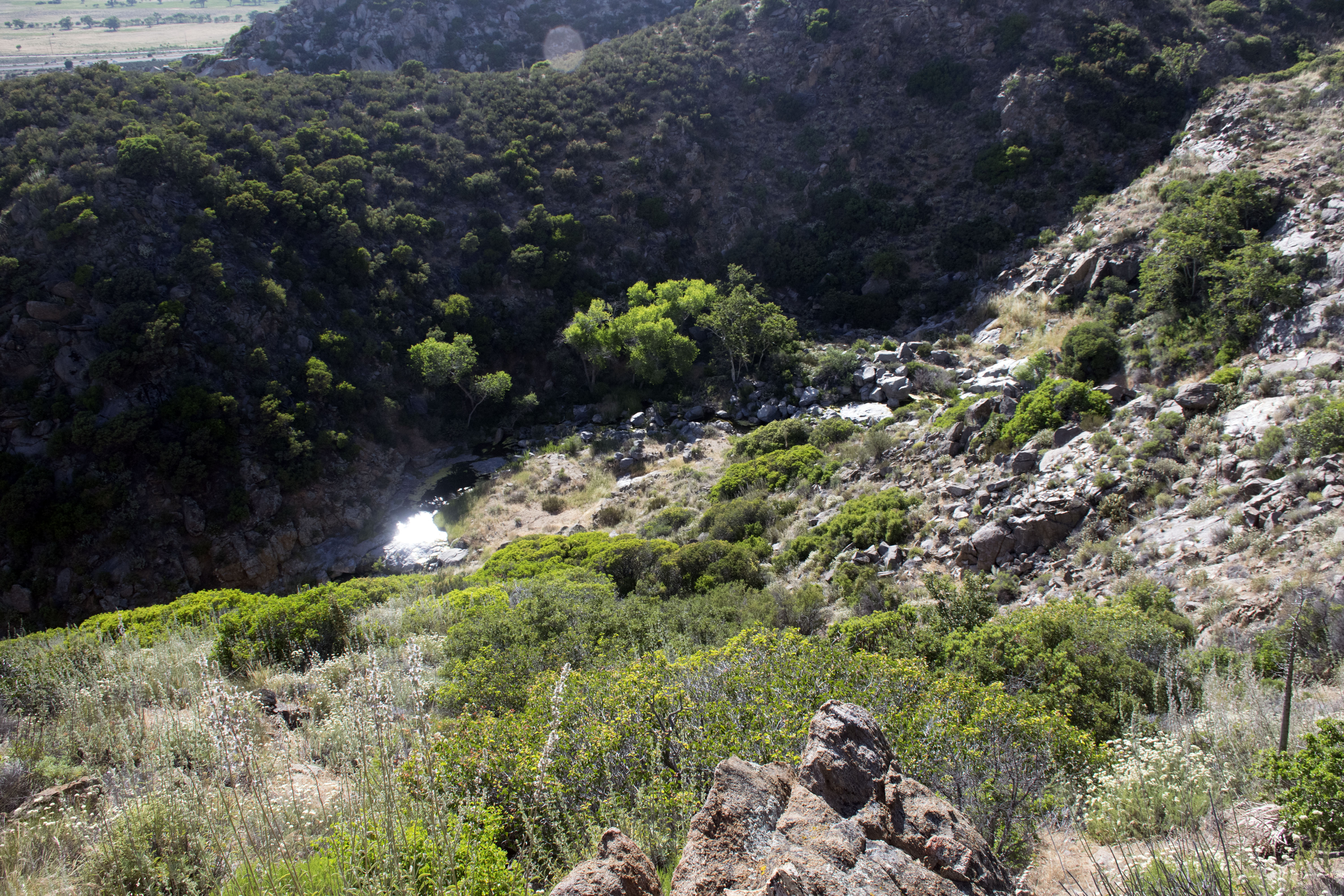 Looking down to Kitchen Creek Falls on the PCT