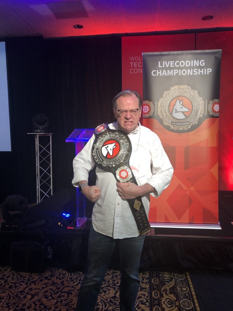 me wearing the wrestling belt