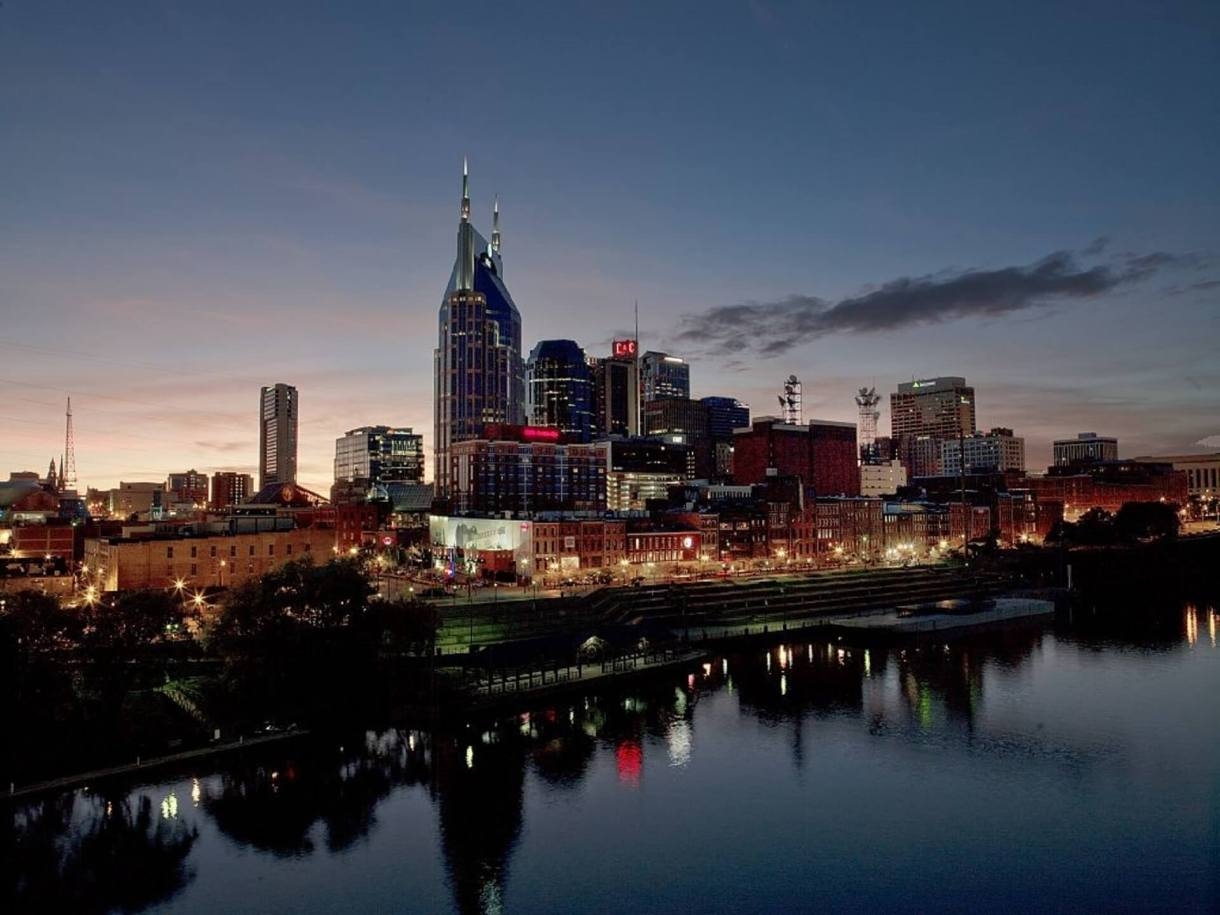 Panoramic view of Nashville at sunset
