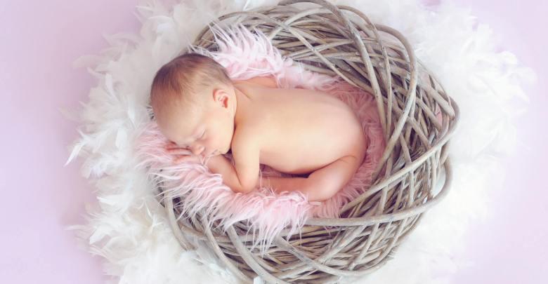A newborn sleeping in a basket