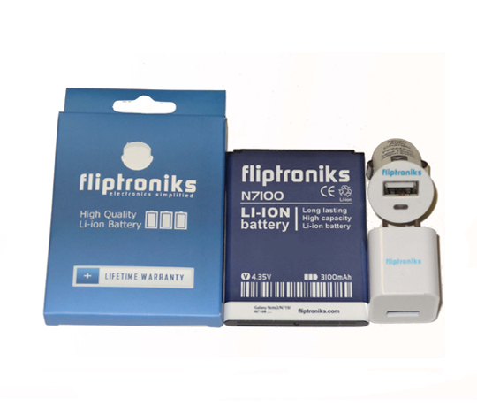 Fliptroniks 3100mAh Li-ion Battery For Samsung Galaxy Note 2 W Wall and Car Charger
