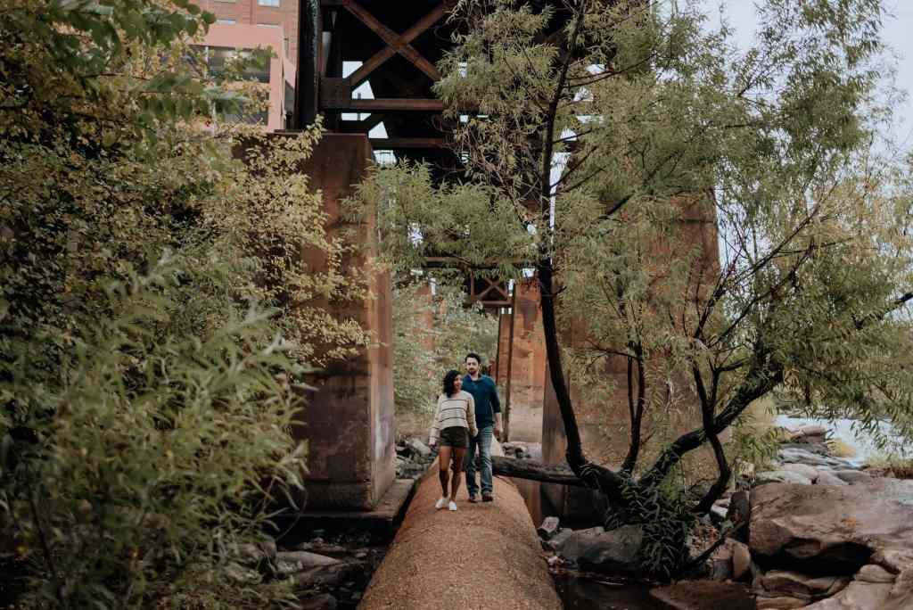 A couple walk along the pipeline in Richmond, VA