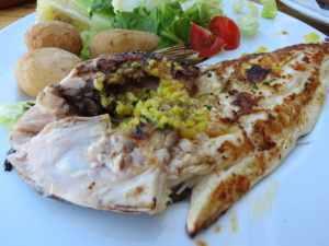 Fresh fish at Restaurante Cofradia, Puerto de Mogan, Gran Canaria, Spain