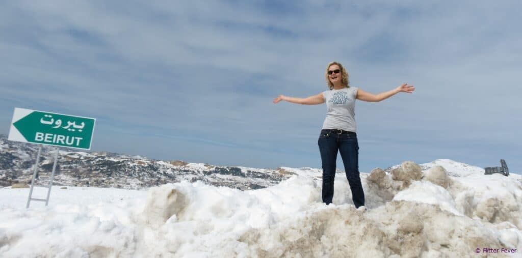 Fun in the snow Beirut Lebanon mountains