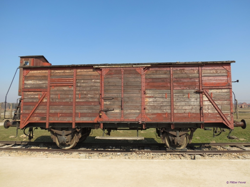 Waggon on track in camp II Auschwitz Birkenau