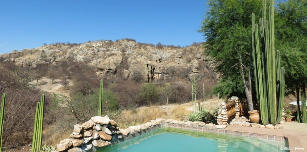 Mountain view from the pool Sasa Safari Camp  Outjo Namibia Etosha