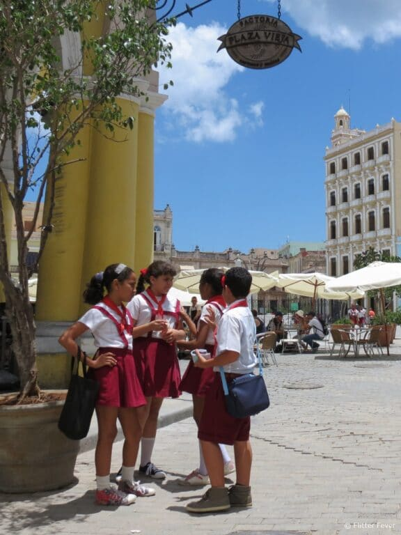 School children Plaza Vieja Havana Cuba