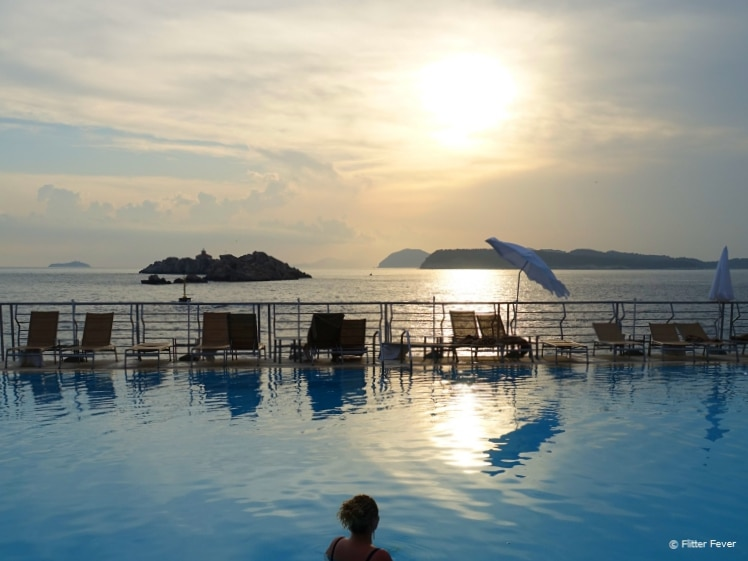 Dubrovnik Palace sunset pool view