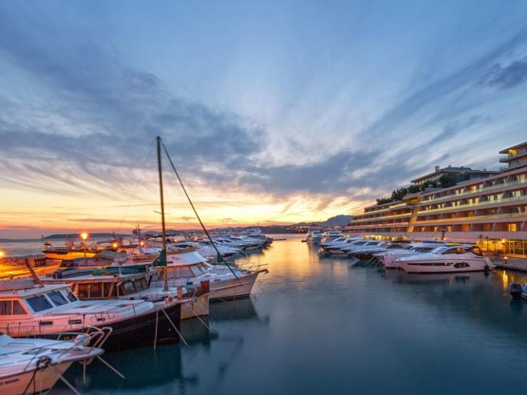 Le Meridien Lav Split yacht club at sunset