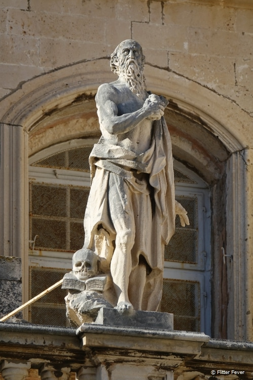 Statue on top of the Assumption Cathedral in Dubrovnik