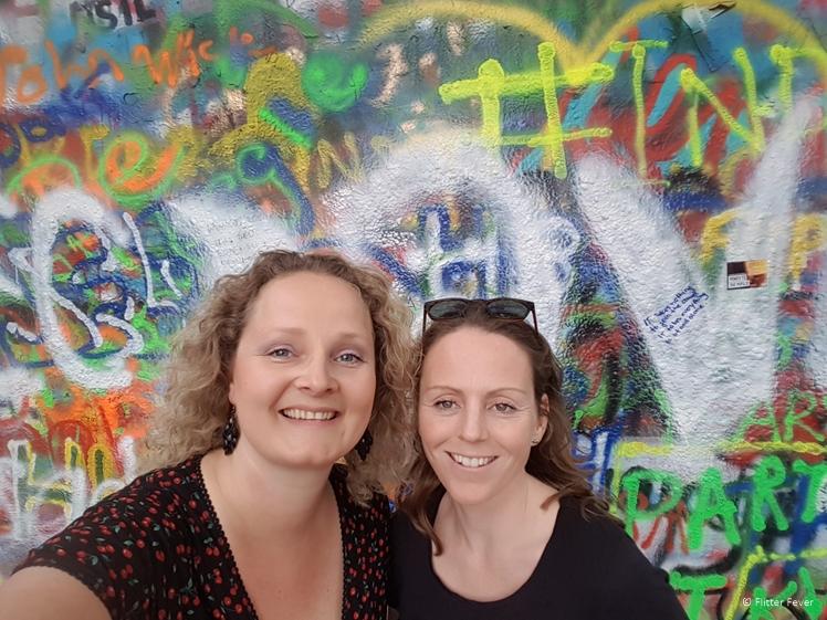 With my friend Saskia (who joined me on this tour) at the John Lennon Wall Prague