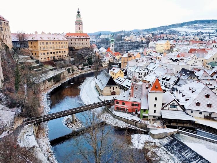 Cesky Krumlov is pretty any season near Prague