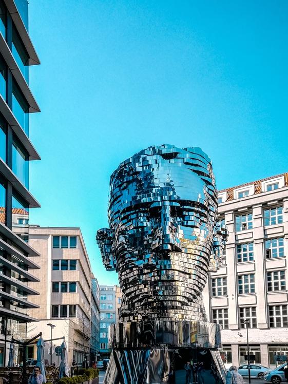 Head of Franz Kafka rotating head statue