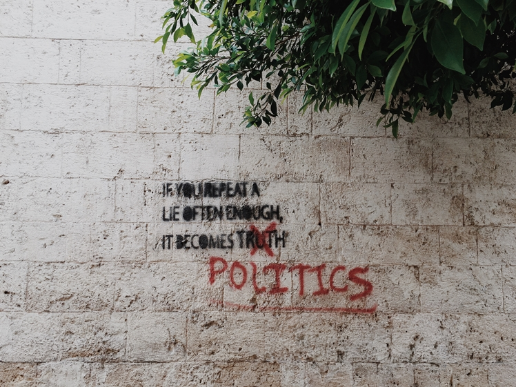 If you repeat a lie often enough... - graffiti on wall in Beirut