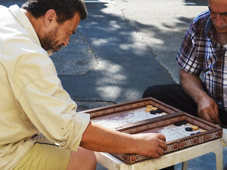 Men playing board game in Sessine Square, Beirut