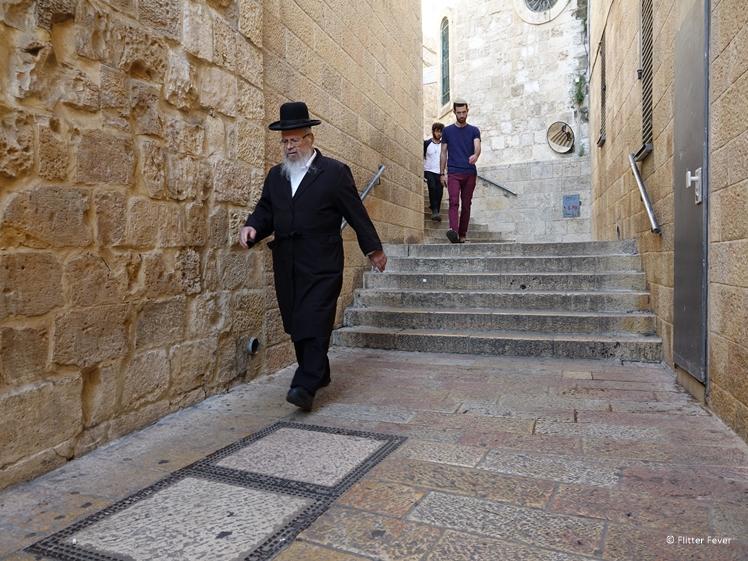 Jewish men in Old City alley near Western Wall Jerusalem