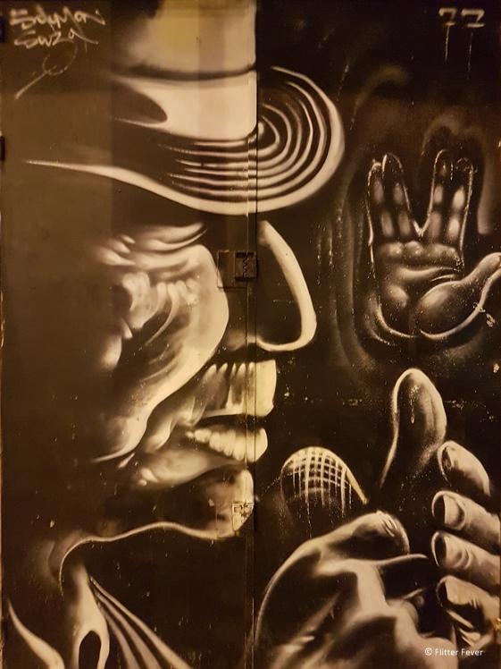Street art on a door near the market in Jerusalem