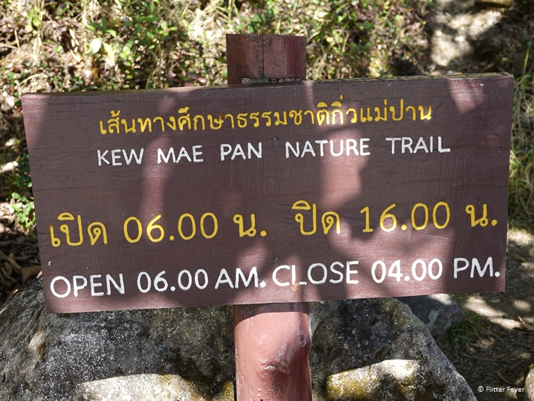 Kew Mae Pan Nature Trail opening hours sign