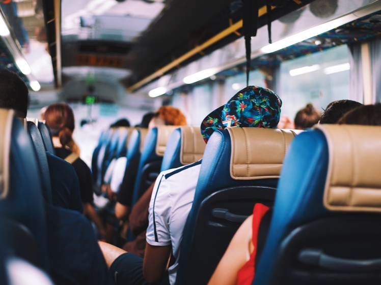 Traveling by bus is more sustainable than a rental car