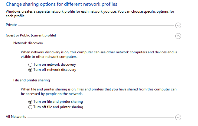 Windows Network and Sharing