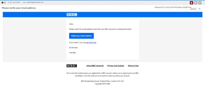 confirm email bbc