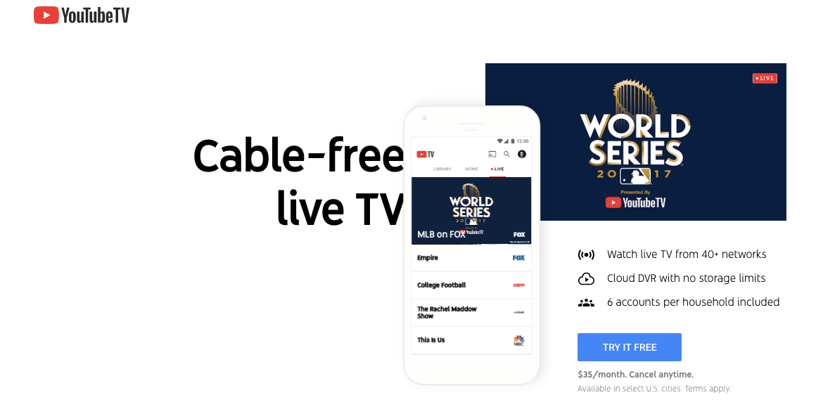 YouTube TV has World Series