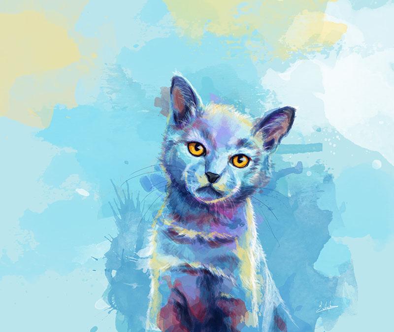 Kitten digital portrait