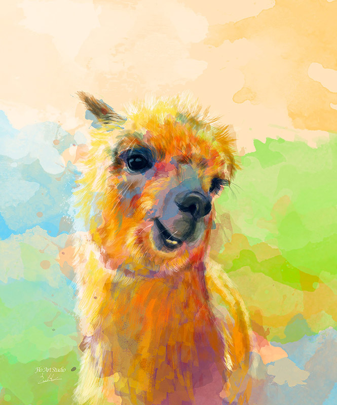Colorful Happiness Alpaca Digital Painting