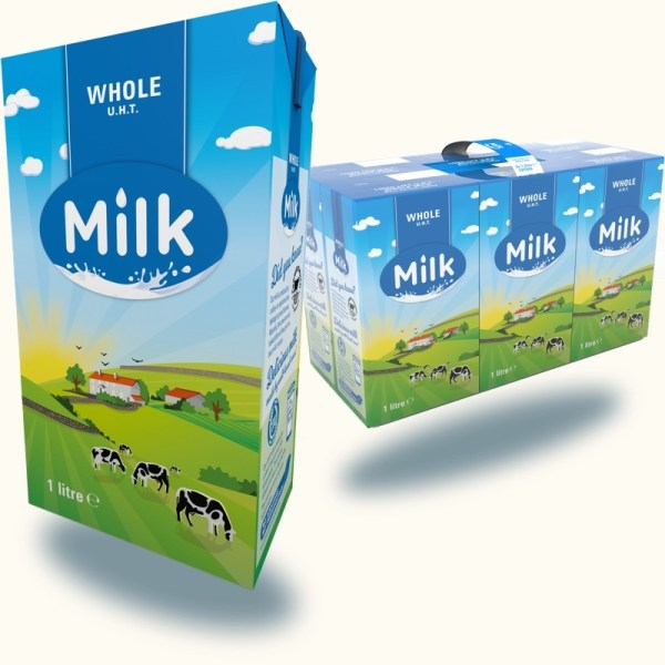 Whole UHT milk 6 x 1 Litre Cartons