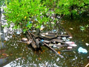 The water under La Solucion filled with trash and human waste