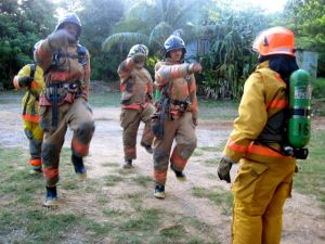 95 Degrees Training In Brush Gear With 95 Percent Humidity