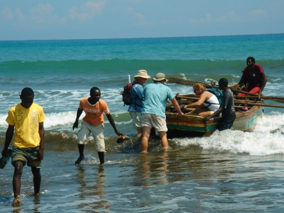 Landing through the surf to conduct a clinic on the north coast of Haiti