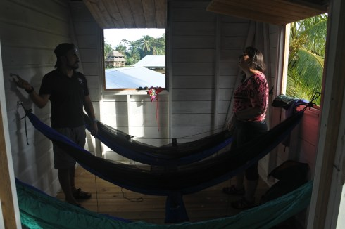 Hanging Hammocks on Arrival at Quebrada Sal Outpost