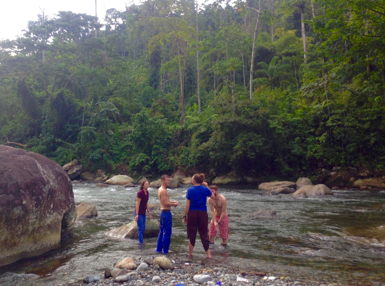 Bathing in Mountain River During Multiday Clinic