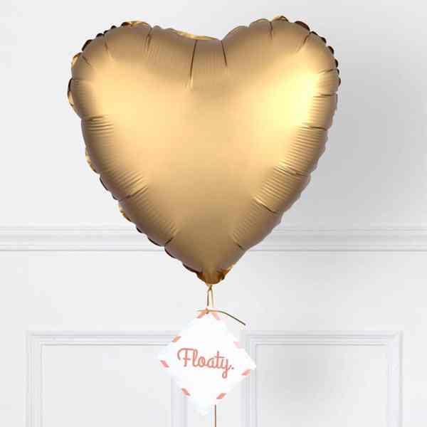 Herzluftballon satin gold zoom