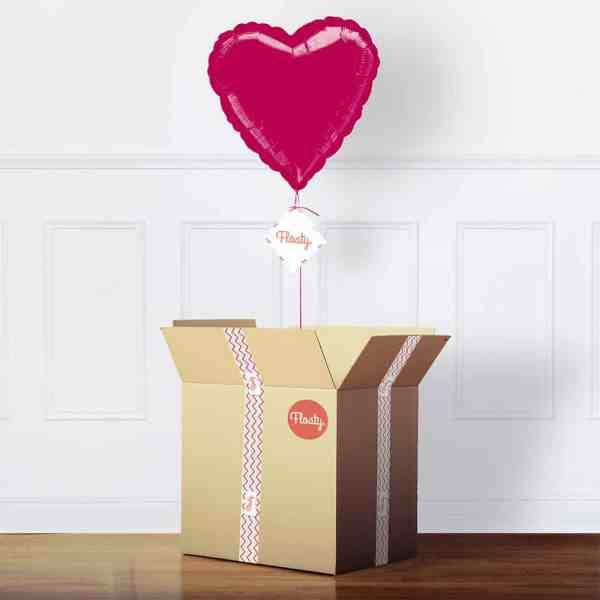 Herzluftballon Pink mit Karton