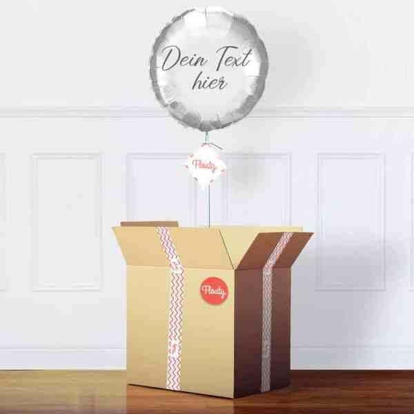 Personalisierter silberner runder Luftballon im Karton