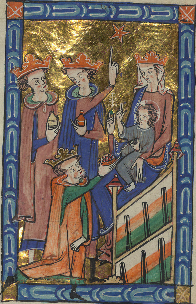 Carrow Psalter, Adoration of the Magi, Walters Manuscript W.34, fol. 33v detail