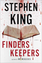 Cover of Stephen King's Finders Keepers showing an open book with blood raining down in front of it