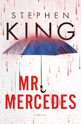 Cover of Sephen King's Mr Mercedes showing an open umbrella and a rain of blood