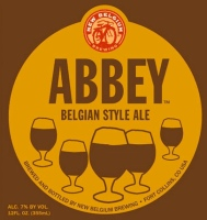 New Belgium's Abbey Ale label showing traditional Belgian goblets with beer