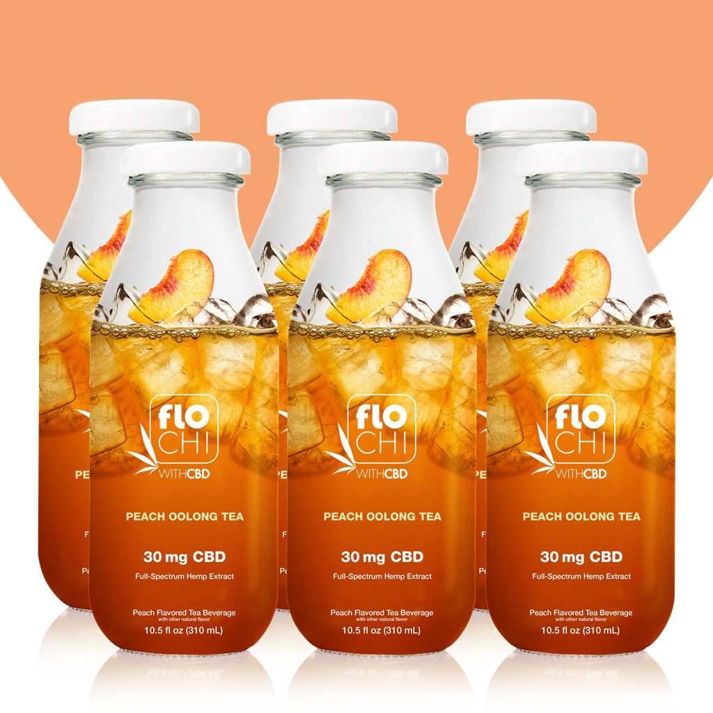 FloChi CBD Iced Tea Peach Oolong Tea Flavor 6-Pack