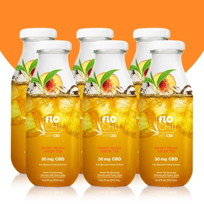 FloChi CBD Iced Tea Sweet Peach Green Tea Flavor 6-Pack
