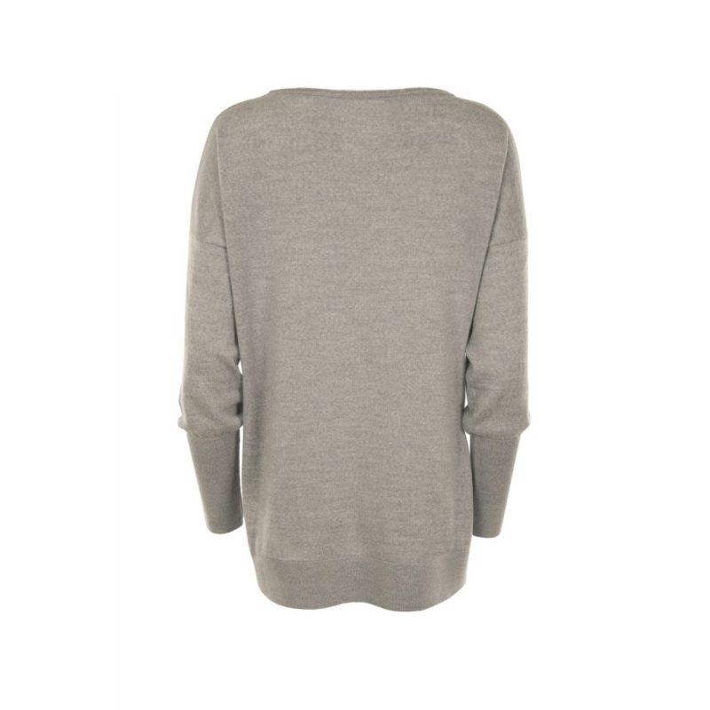 Eloise Merino Sweater in Grey. Back View