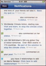 Facebook app notifications screen