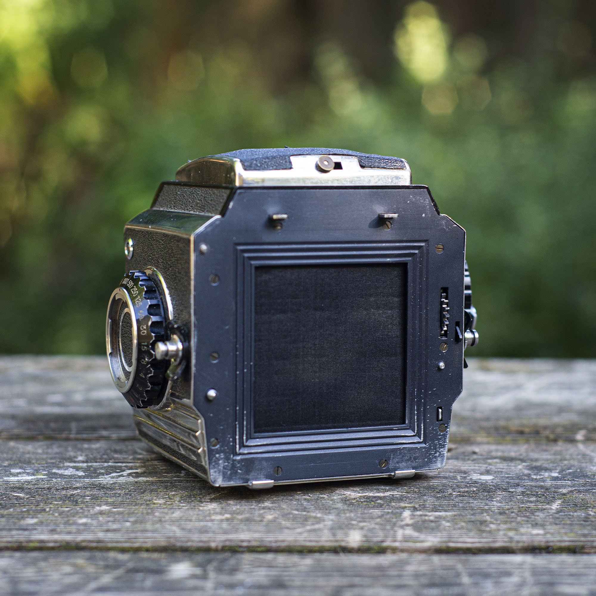 Bronica S2 with the film back off showing the rear curtain