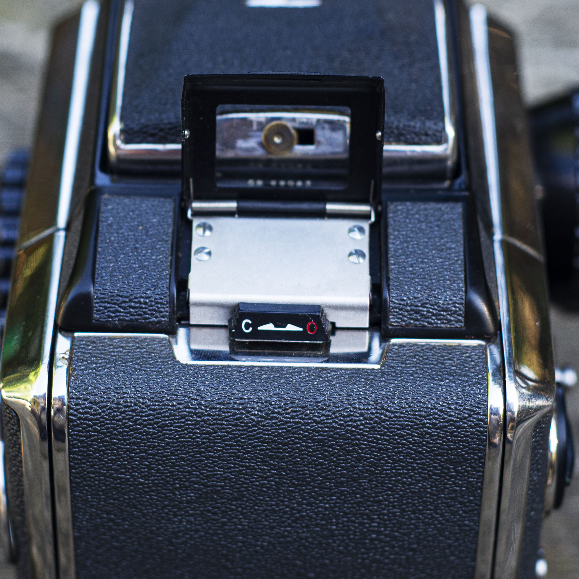Bronica S2 film tab and back latch detail
