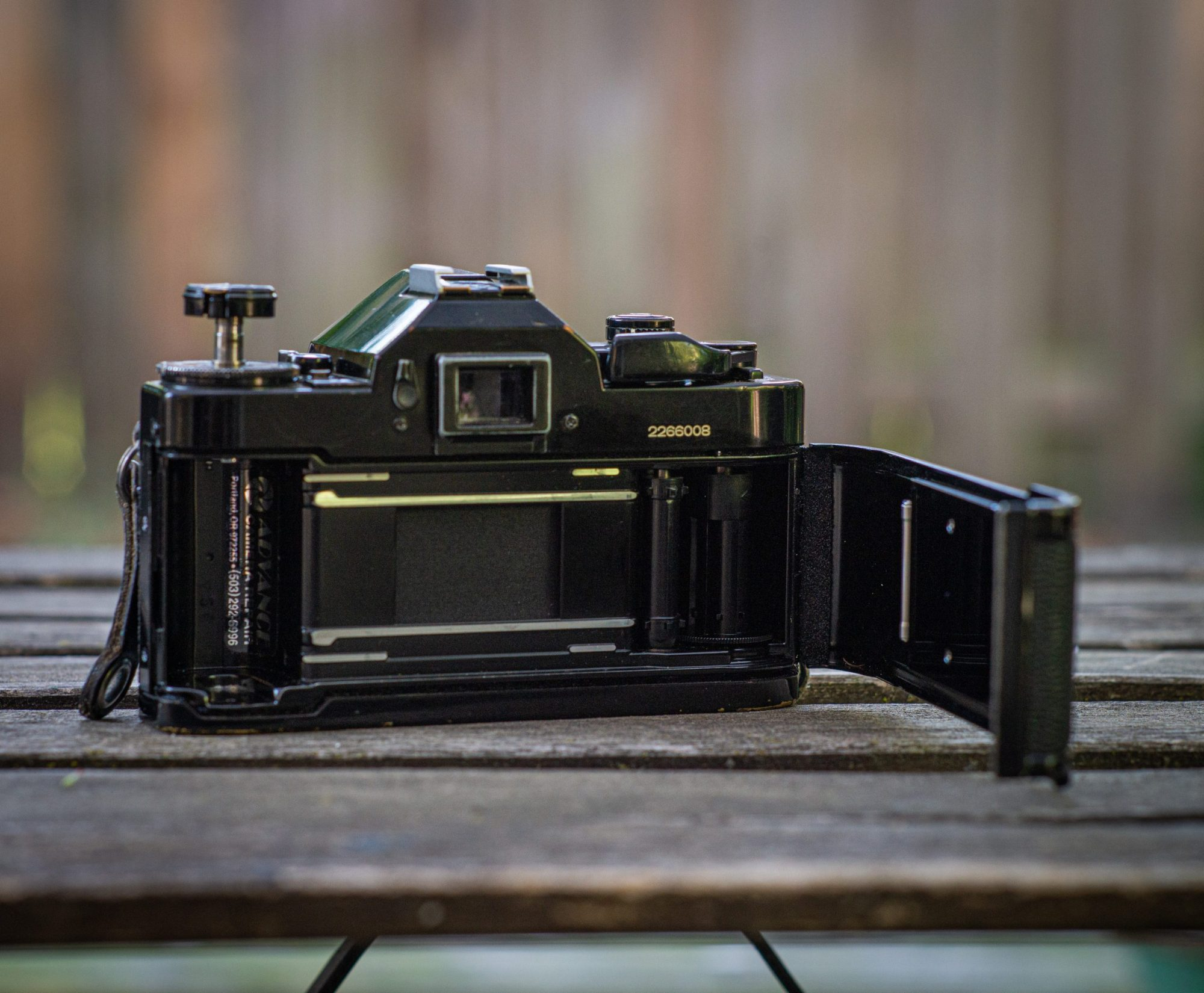 Canon A-1 film door open