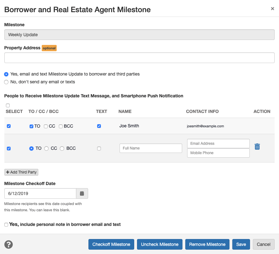 add the third party and their contact information to the milestone