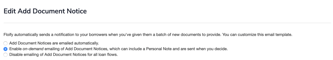 Add new document notice settings